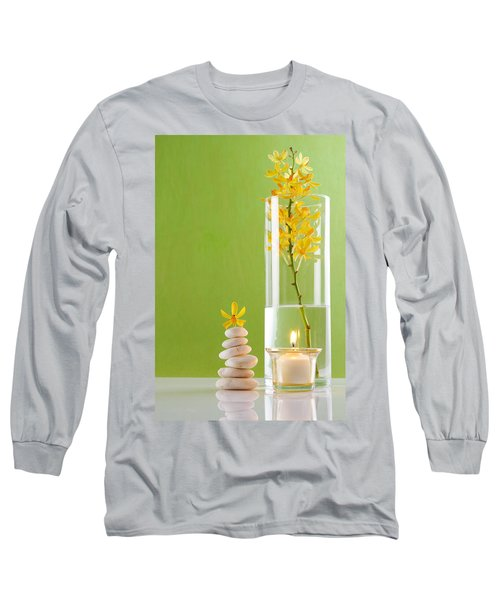Spa Concepts With Green Background Long Sleeve T-Shirt by Atiketta Sangasaeng