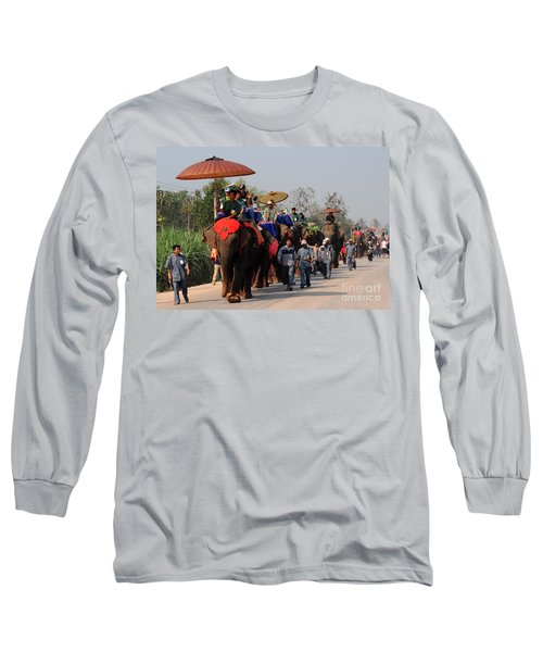 Long Sleeve T-Shirt featuring the photograph The Elephant Parade by Vivian Christopher