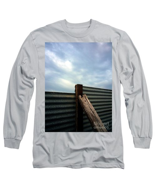 Long Sleeve T-Shirt featuring the photograph The Fence The Sky And The Beach by Andy Prendy