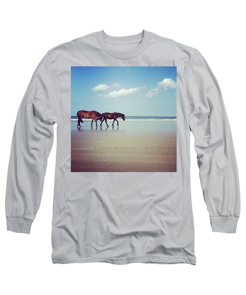 Well, This Just Happened. #wild #horses Long Sleeve T-Shirt
