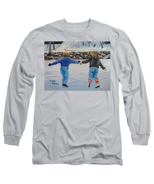Long Sleeve T-Shirt featuring the painting Winter Fun by Norm Starks