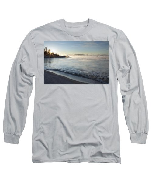 Winter Mist On Lake Superior At Sunrise Long Sleeve T-Shirt
