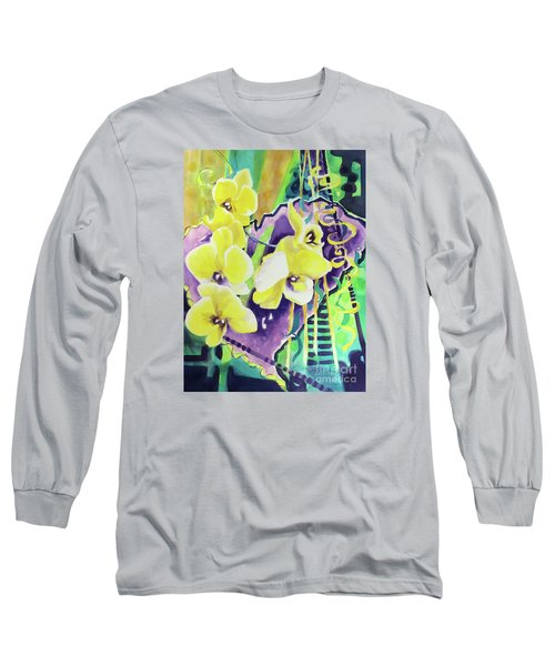 Yellow Orchids Of The Heart Long Sleeve T-Shirt by Kathy Braud