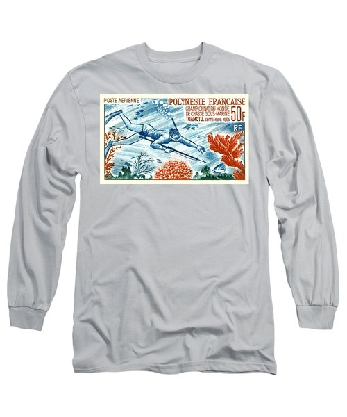 1965 French Polynesia Spearfishing Postage Stamp Long Sleeve T-Shirt