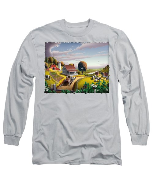 Appalachian Blackberry Patch Rustic Country Farm Folk Art Landscape - Rural Americana - Peaceful Long Sleeve T-Shirt