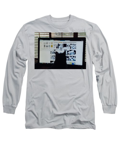 Long Sleeve T-Shirt featuring the photograph  Critic Cat by Erika Chamberlin