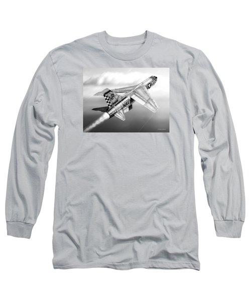 F-8e Crusader Drawing Long Sleeve T-Shirt by Douglas Castleman