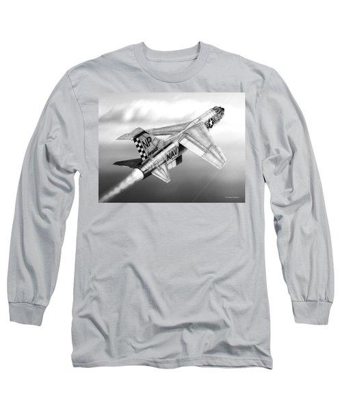 F-8e Crusader Drawing Long Sleeve T-Shirt