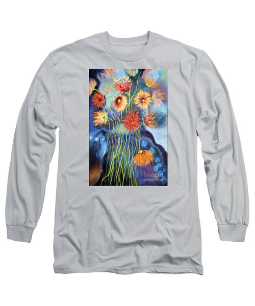 Long Sleeve T-Shirt featuring the painting 01314 African Daisies by AnneKarin Glass