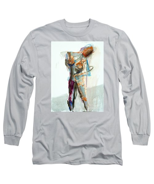 Long Sleeve T-Shirt featuring the painting 04957 Second Thoughts by AnneKarin Glass