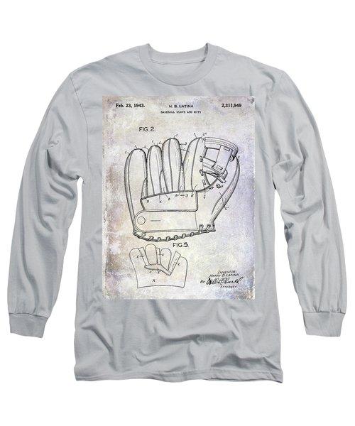 1943 Baseball Glove Patent Long Sleeve T-Shirt by Jon Neidert