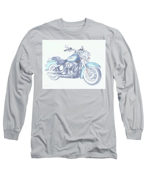 Long Sleeve T-Shirt featuring the drawing 2015 Softail by Terry Frederick