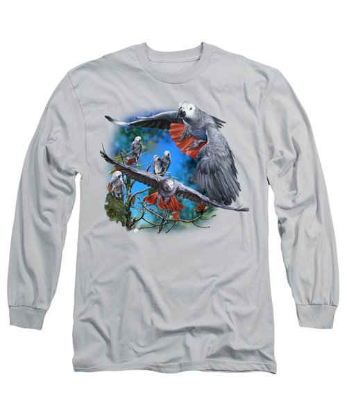 African Grey Parrots Long Sleeve T-Shirt by Owen Bell