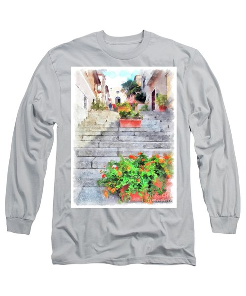 Arzachena Staircase And Church Of The Santa Lucia Long Sleeve T-Shirt