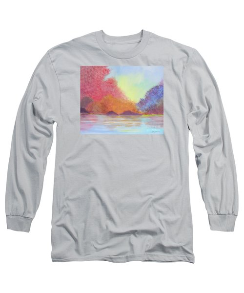Long Sleeve T-Shirt featuring the painting Autumn's Aura by Stacey Zimmerman