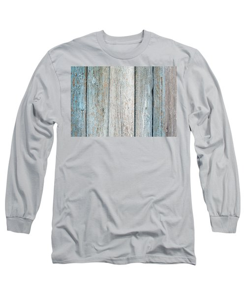Long Sleeve T-Shirt featuring the photograph Blue Fading Paint On Wood by John Williams