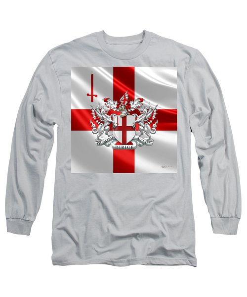 City Of London - Coat Of Arms Over Flag  Long Sleeve T-Shirt