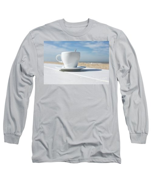 Long Sleeve T-Shirt featuring the photograph Coffee On The Beach by Patricia Hofmeester