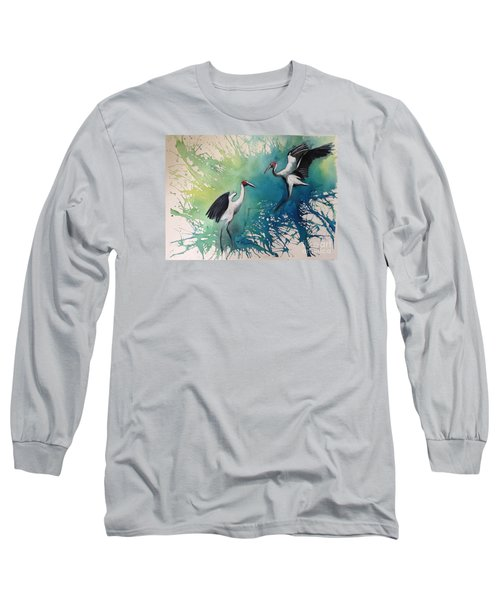 Long Sleeve T-Shirt featuring the painting Dance Of The Brolgas - Original Sold by Therese Alcorn