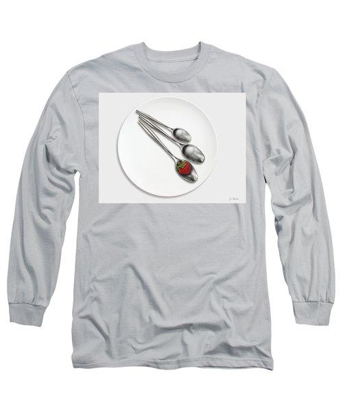 Dish, Spoons And Strawberry Long Sleeve T-Shirt by Joe Bonita