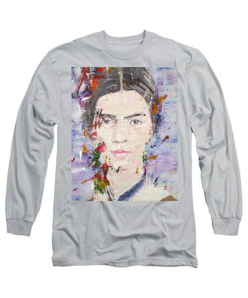 Long Sleeve T-Shirt featuring the painting Emily Dickinson - Oil Portrait by Fabrizio Cassetta