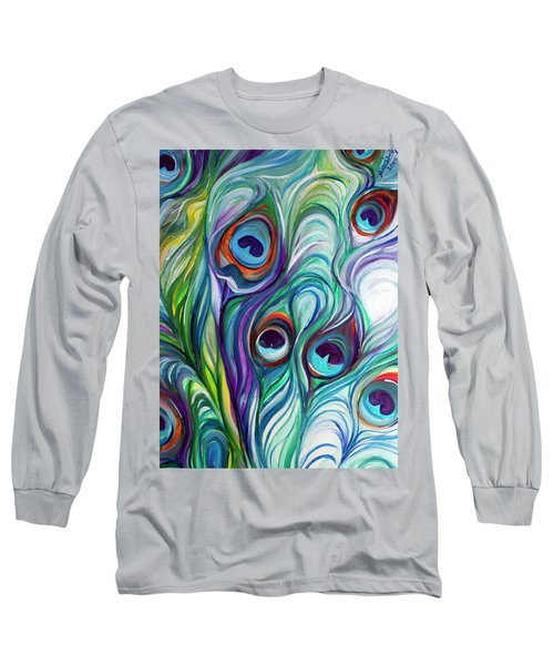 Feathers Peacock Abstract Long Sleeve T-Shirt by Marcia Baldwin