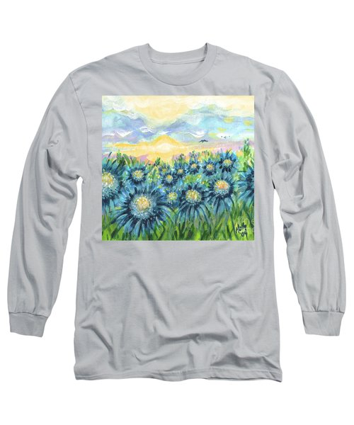 Field Of Blue Flowers Long Sleeve T-Shirt by Holly Carmichael