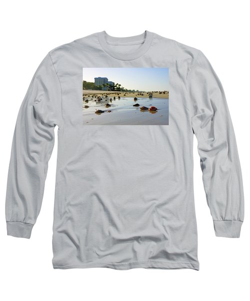 Fighting Conchs On The Beach In Naples, Fl Long Sleeve T-Shirt by Robb Stan
