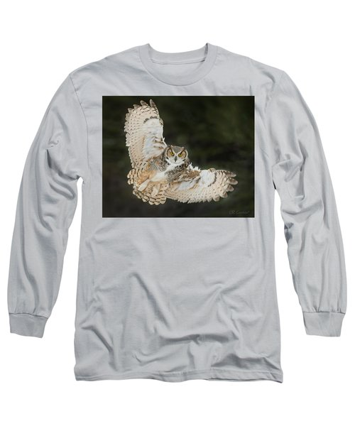 Great Horned Owl Wingspread Long Sleeve T-Shirt by CR Courson