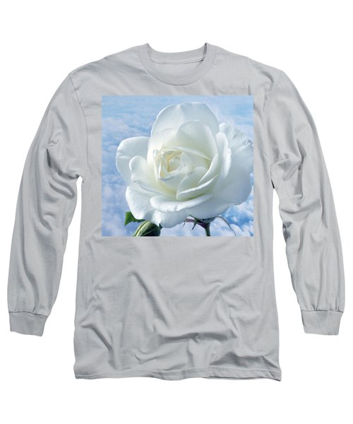 Heavenly White Rose. Long Sleeve T-Shirt by Terence Davis