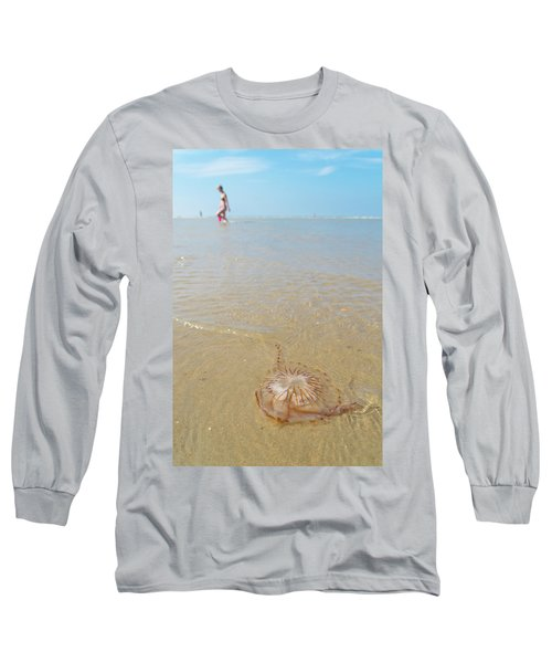 Jellyfish On Beach Long Sleeve T-Shirt by Hans Engbers