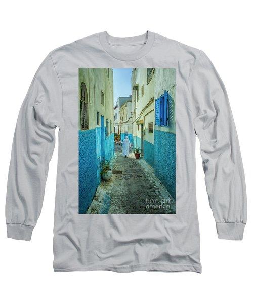 Man In White Djellaba Walking In Medina Of Rabat Long Sleeve T-Shirt by Patricia Hofmeester