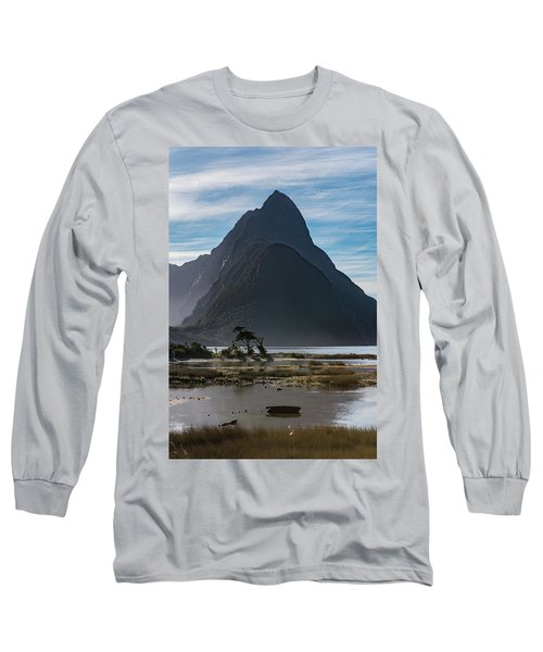 Long Sleeve T-Shirt featuring the photograph Mitre Peak / Rahotu by Gary Eason