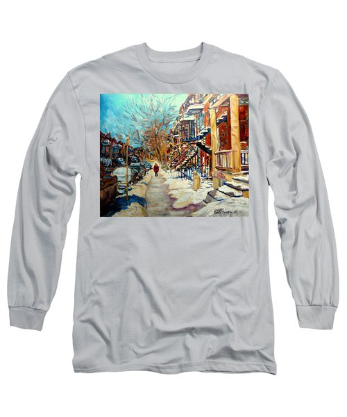 Montreal Street In Winter Long Sleeve T-Shirt