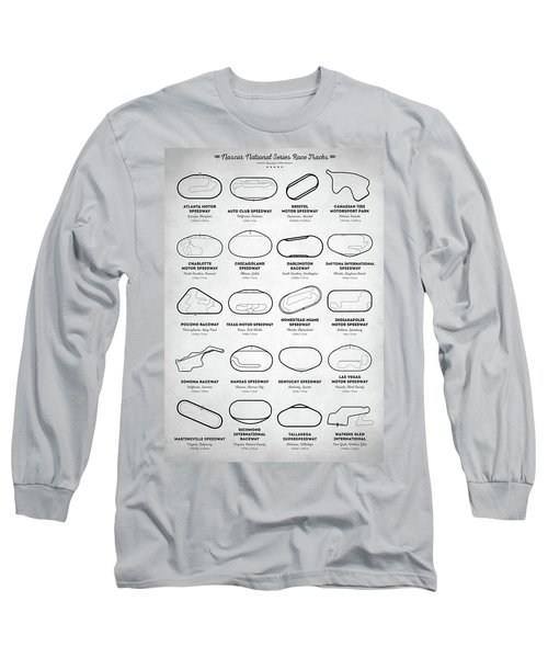 Long Sleeve T-Shirt featuring the digital art Nascar Racetracks by Taylan Apukovska