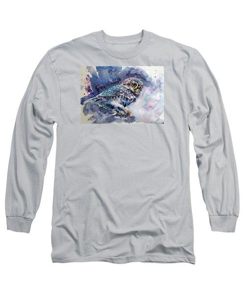 Owl At Night Long Sleeve T-Shirt by Kovacs Anna Brigitta