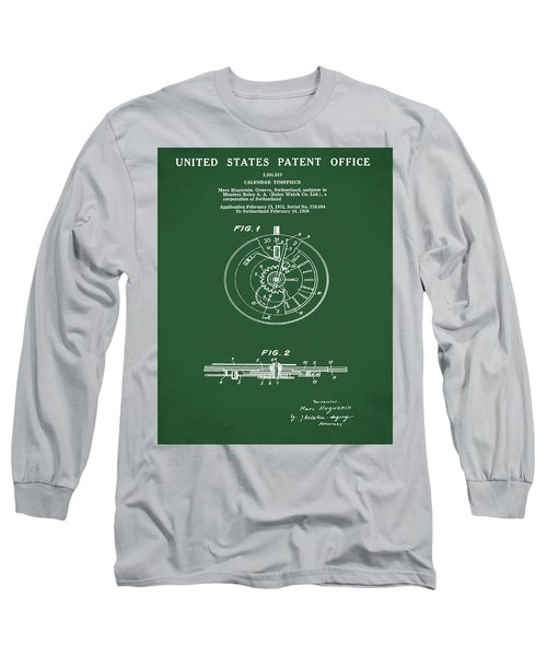 Rolex Watch Patent 1999 In Green Long Sleeve T-Shirt