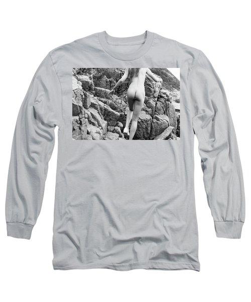 Running Nude Girl On Rocks Long Sleeve T-Shirt