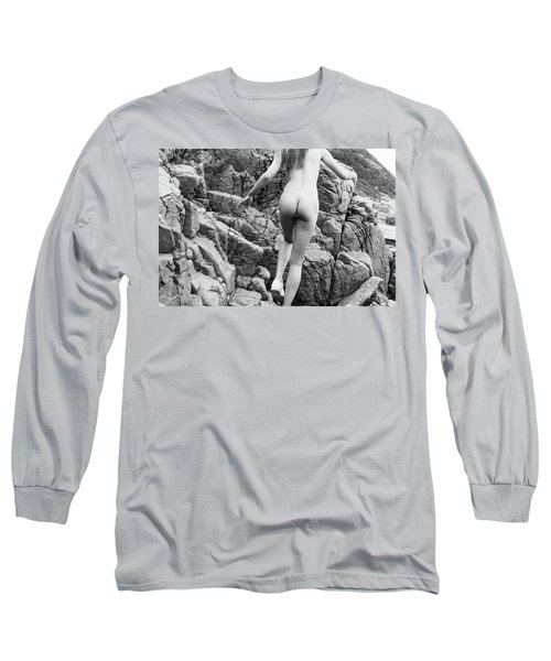 Running Nude Girl On Rocks Long Sleeve T-Shirt