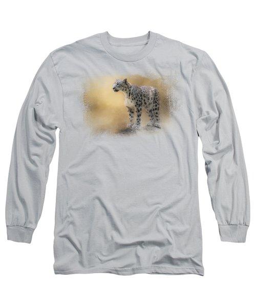 Snow Leopard Long Sleeve T-Shirt by Jai Johnson