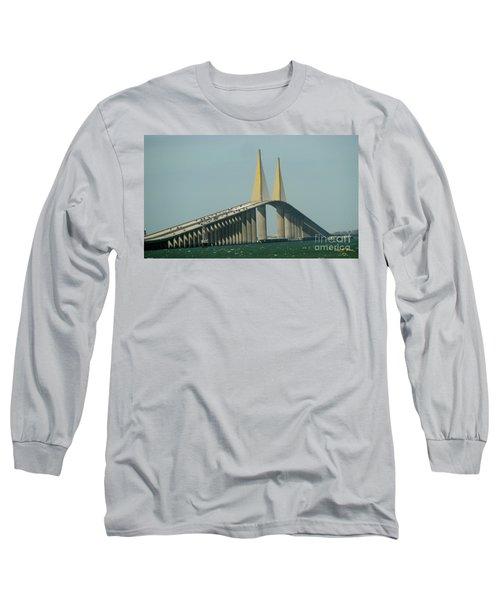 Sunshine Skyway Bridge Long Sleeve T-Shirt by Donna Brown