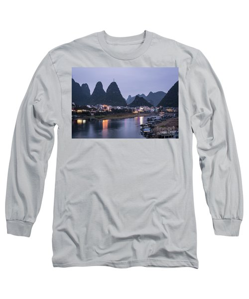 Twilight Over The Lijang River In Yangshuo Long Sleeve T-Shirt