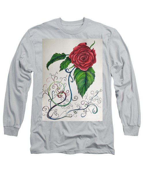 Whimsical Red Rose Long Sleeve T-Shirt