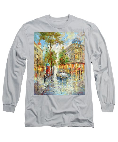 White Taxi Long Sleeve T-Shirt by Dmitry Spiros