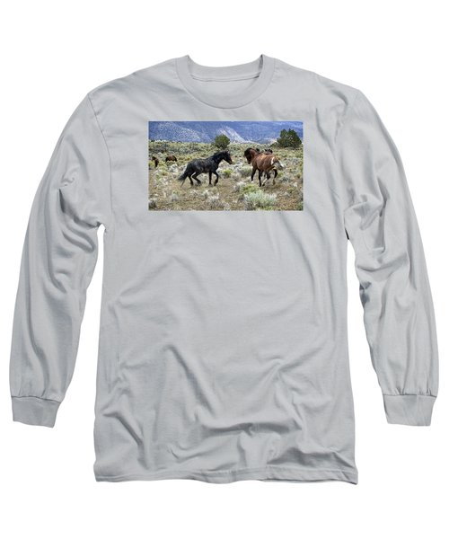 Wild Mustang Stallions Fighting Long Sleeve T-Shirt