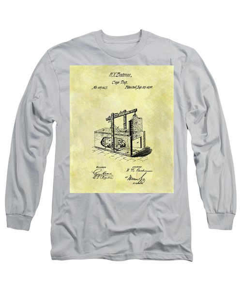 Long Sleeve T-Shirt featuring the mixed media 1870 Mousetrap Patent by Dan Sproul