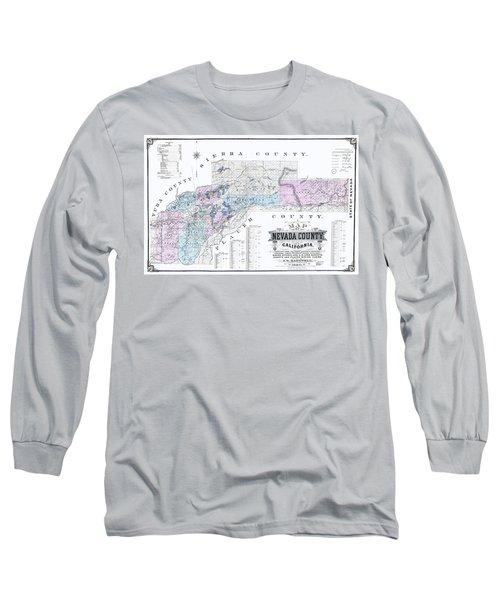 1880 Nevada County Mining Claim Map Long Sleeve T-Shirt