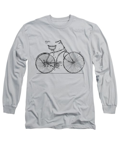 Long Sleeve T-Shirt featuring the drawing 1890 Bicycle Patent Minimal - Vintage by Nikki Marie Smith