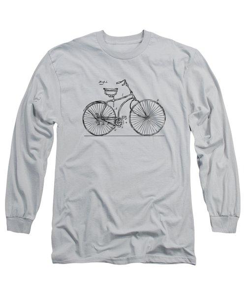 1890 Bicycle Patent Minimal - Vintage Long Sleeve T-Shirt