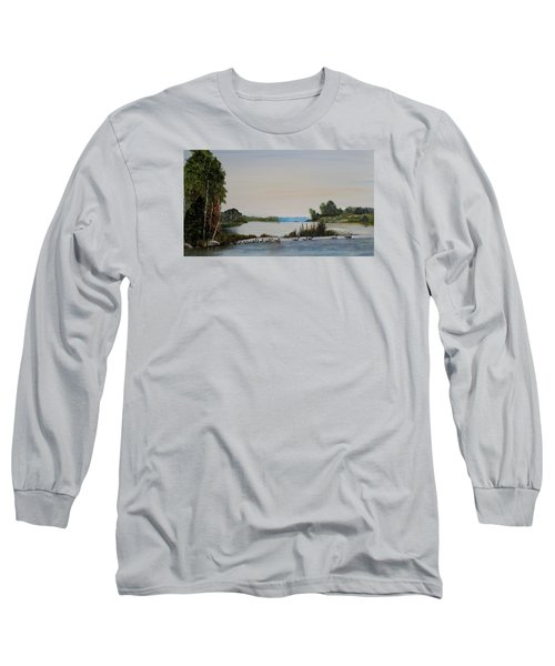 Long Sleeve T-Shirt featuring the painting 19 Geese by Marilyn  McNish
